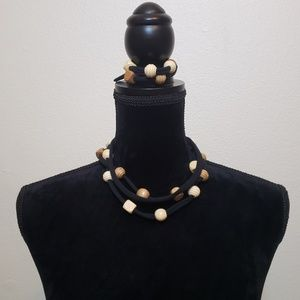 Wooden Bead Black T shirt Necklace & Bracelet set